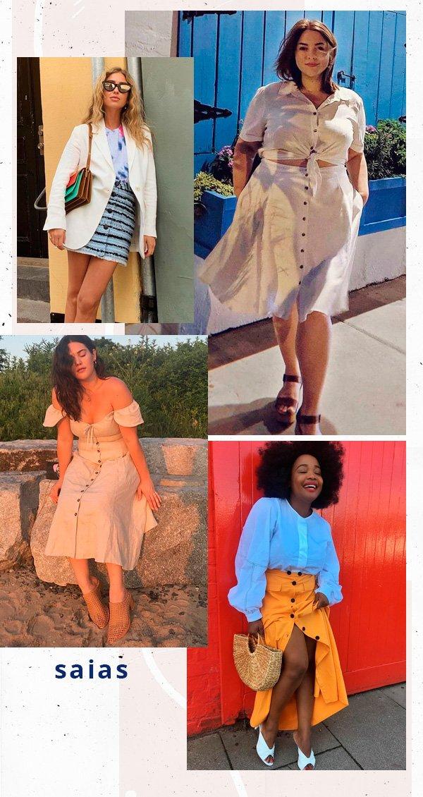 Ada Oguntodu, Emili Sindlev, Maxey Greene, Ali Tate - saia - botões - verão - street-style