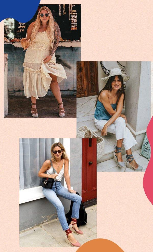 Ashlee Hartley, Belen Hostalet, Lucy Williams - anabela - sapatos - verão - street-style