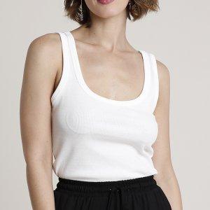 Regata Feminina Básica Canelada Decote Redondo Off White