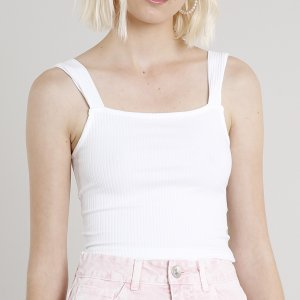 Regata Feminina Cropped Canelada Off White