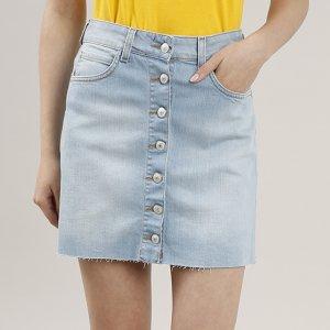 Saia Jeans Feminina Curta Com Botões Azul Claro