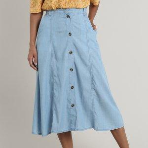 Saia Jeans Feminina Midi Com Botões E Bolsos Azul Claro