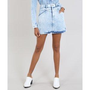 Saia Jeans Feminina Mindset Curta Com Recortes Azul Claro