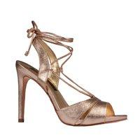Sandália Couro Metalizado Ouro com Amarração V20