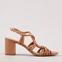 sandália feminina oneself salto médio grosso em corda marrom