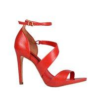 Sandália Tiras em Couro vermelho com Salto Alto V20