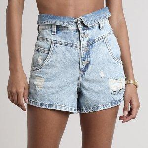 Short Jeans Feminino Mom Com Rasgos E Cós Dobrado  Azul Claro