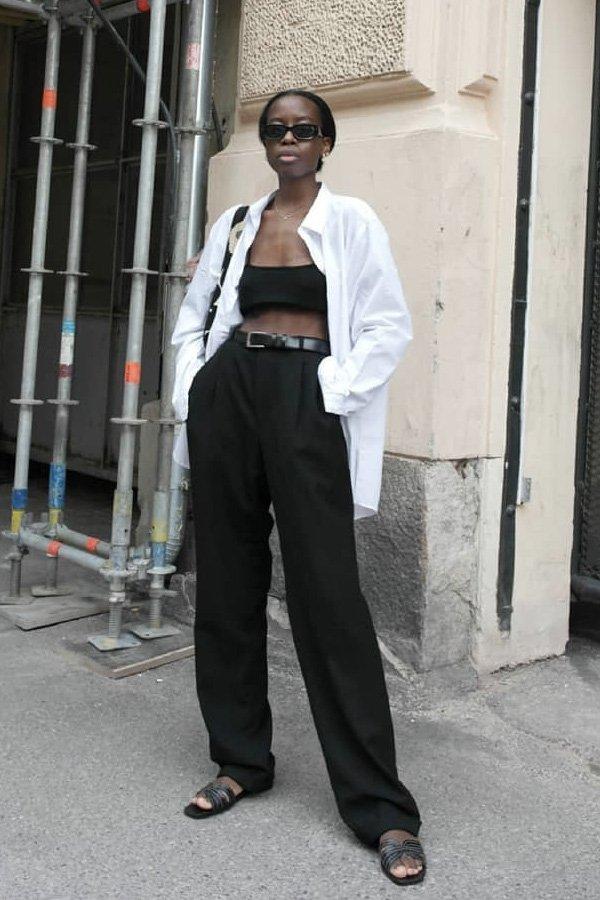 Sylvie Mus -      - calça preta - verão - street style