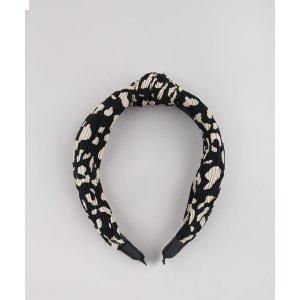 Tiara Feminina Estampada Animal Print Com Nó Preto