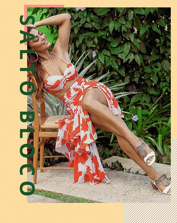 Juliana Paes - Sandália - Salto bloco - Primavera - Street Style