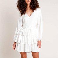 vestido feminino mindset curto com linho em camadas manga longa off white