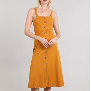 Vestido Feminino Midi Com Botões Amarelo
