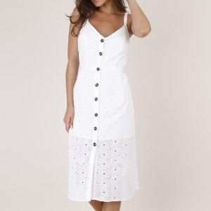 Vestido Feminino Midi Em Laise Com Botão Alça Fina Off White