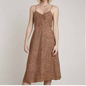 Vestido Feminino Midi Estampado Animal Print Onça Alça Fina Decote V Caramelo