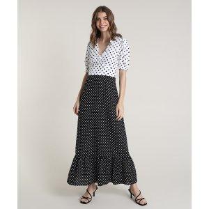 Vestido Feminino Mindset Longo Bicolor Estampado De Poá Manga Curta Preto