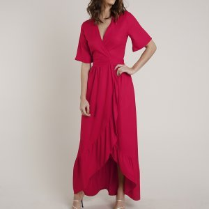 Vestido Feminino Mindset Longo Envelope Manga Curta Vermelho