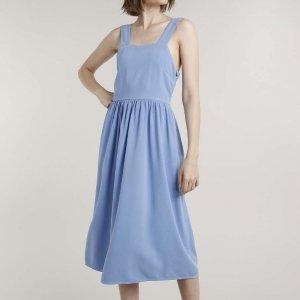 Vestido Feminino Mindset Midi Decote Reto Alça Larga Azul