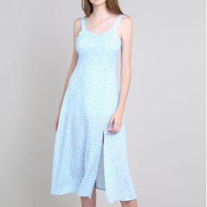 Vestido Feminino Mindset Midi Estampado Floral Com Fenda Alça Média Azul Claro