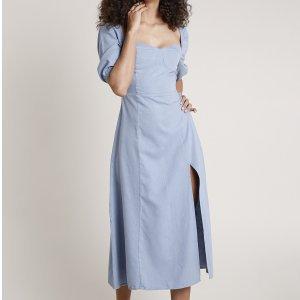Vestido Jeans Feminino Mindset Midi Com Fenda Manga Bufante Azul Claro