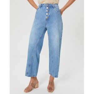 Calça Jeans Barra Wide Recorte Bolso
