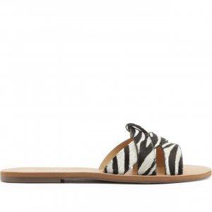 Rasteira Tiras Entrelaçadas Zebra | Anacapri