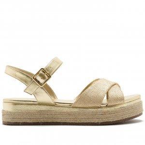 Sandália Flatform Juta Metalizada Dourada | Anacapri