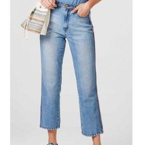 Calça Jeans Feminina Reta Com Lavação Estonada