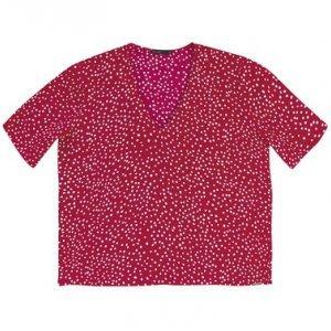 Blusa De Viscose Estampada Com Decote V