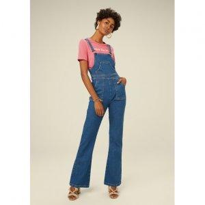 Macacão Jeans Longo Com Alças Finas
