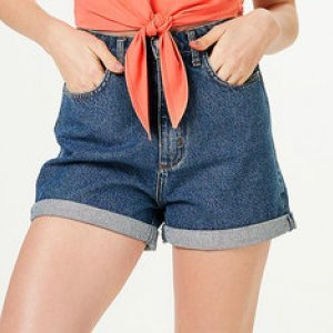 Shorts Jeans Feminino Mom Com Barra Dobrada