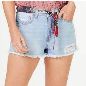 Shorts Jeans Feminino Destroyed Acompanha Faixa