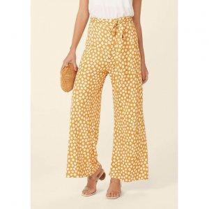 Calça Pantalona Estampada Com Amarração