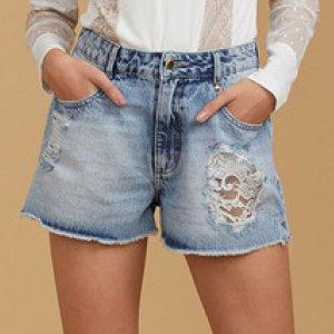 Shorts Jeans Feminino Com Tule Lethicia Bronstein