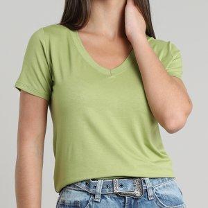 Blusa Feminina Básica Manga Curta Decote V Verde Claro