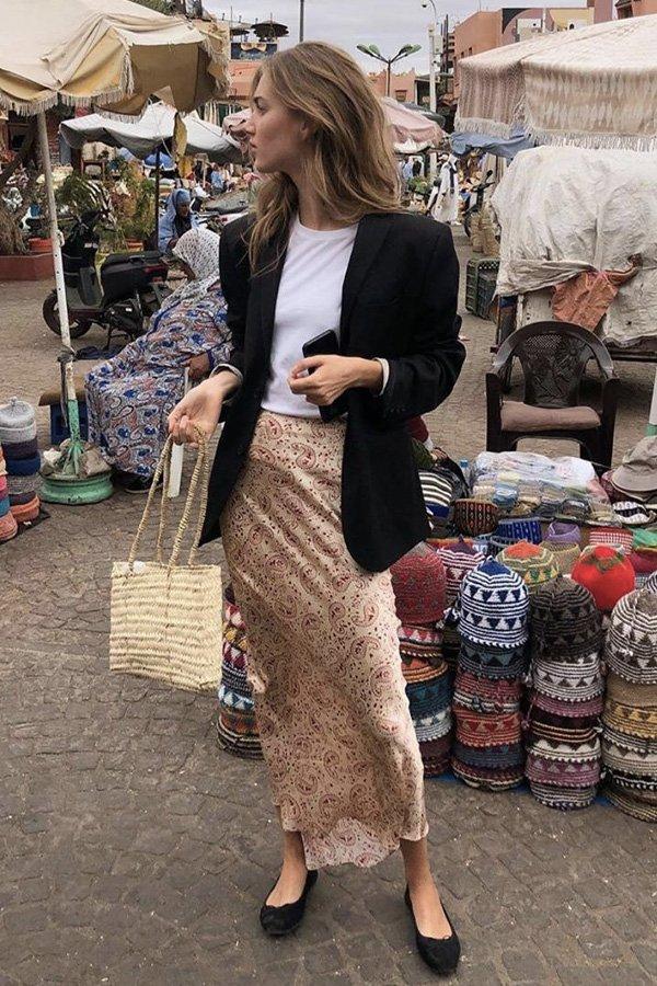 Cecilie Moosgaard - saia midi - saia midi - verão - street style