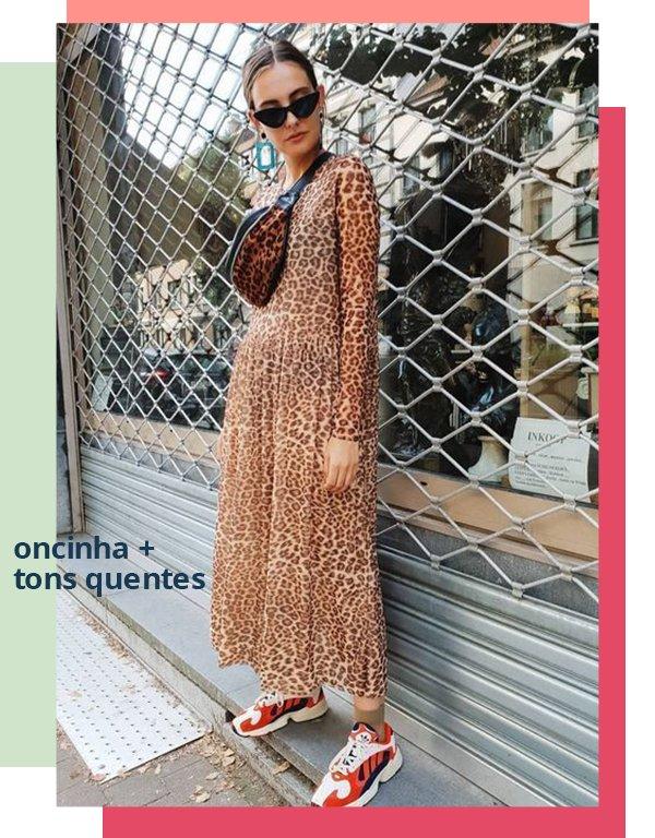It girls - Vestido - Oncinha com tons quentes - Primavera - Street Style
