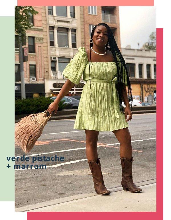 It girl - Vestido - Verde com marrom - Primavera - Street Style