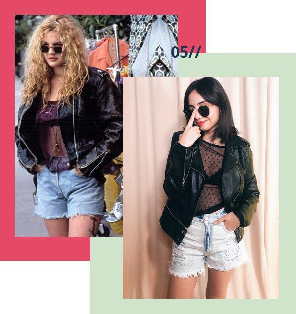 Drew Barrymore - couro - anos 90 - verão - street-style