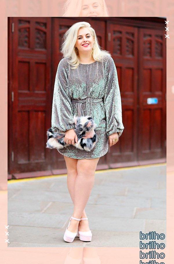Felicity Hayward - vestido - brilho - verão - street-style