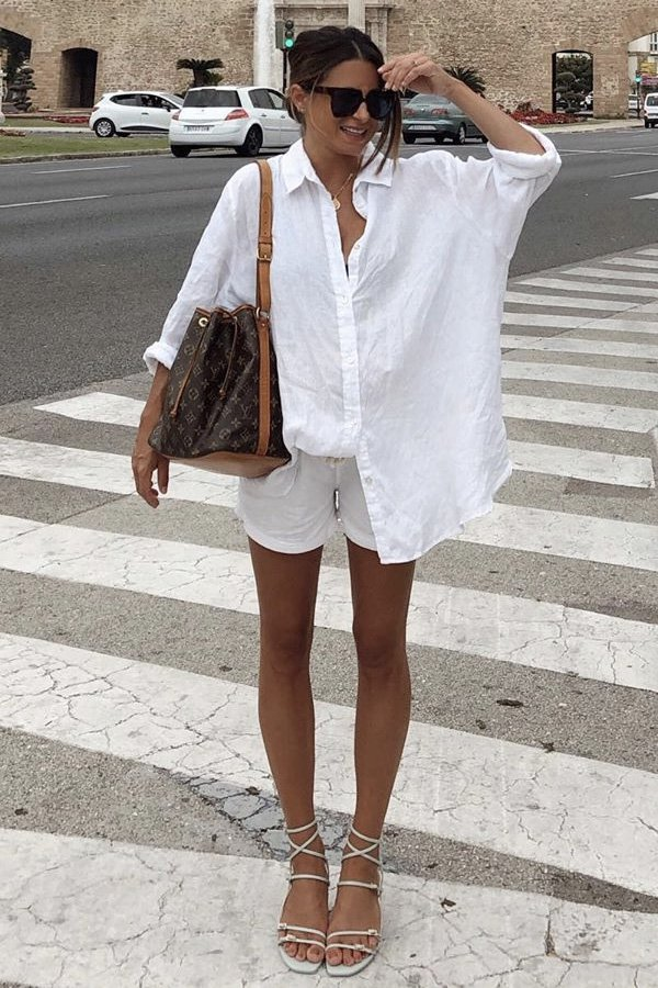 María Valdés - camisa e short - camisa de linho - verão - street style