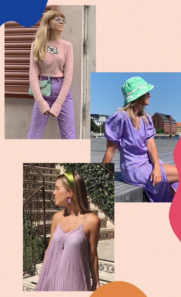 Marie Wibe, Karoline Dall, Nathalia Medeiros  - verde e lilas - verde e lilás - verão - street style