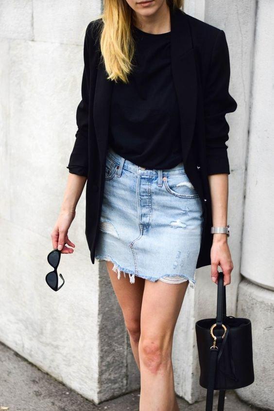 It girls - Saia jeans + Blazer - Saia jeans + Blazer - Primavera - Street Style