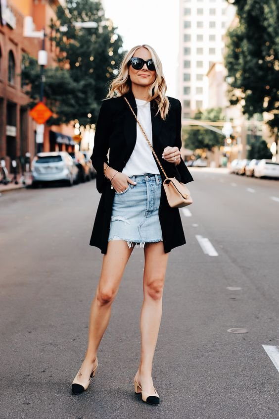 It girl - Saia jeans + Blazer - Saia jeans + Blazer - Primavera - Street Style