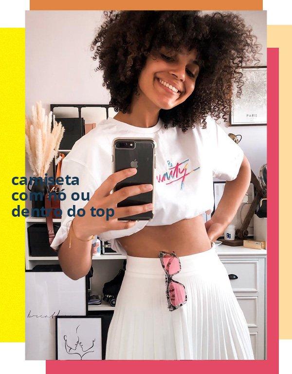 Syana Laniyan - camiseta e saia - camiseta por dentro do top - verão - street style