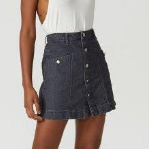 Saia Jeans Curta Botões Frente
