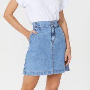 Saia Jeans Curta Bolso Faca