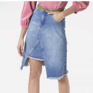 Saia Jeans Midi Com Fenda Frontal
