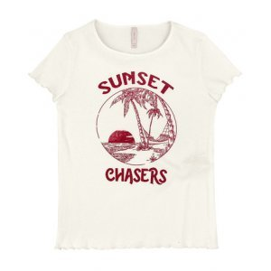 T-Shirt Em Malha Canelada Com Estampa Frontal