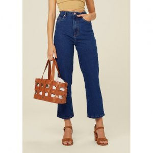 Calça Jeans Cropped Cintura Alta