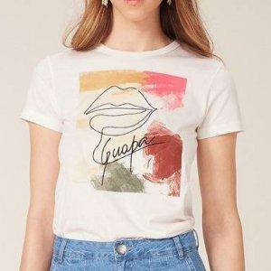 T-Shirt Malha De Algodão Com Estampa Frontal